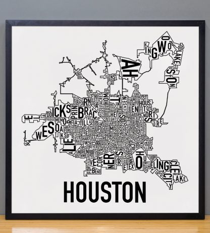 "Framed Houston Neighborhood Map Poster, Classic B&W, 18"" x 18"" in Black Frame"