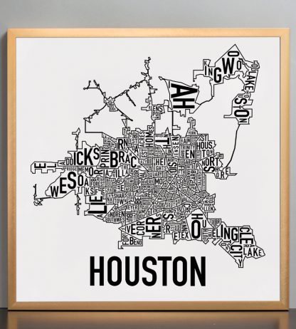 "Framed Houston Neighborhood Map Poster, Classic B&W, 18"" x 18"" in Bronze Frame"