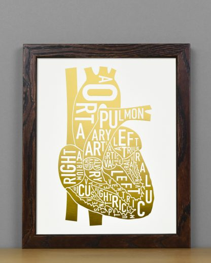 "Framed Heart Anatomy Typographic Letterpress Print, 8"" x 10"", White & Gold Foil in Dark Wood Frame"