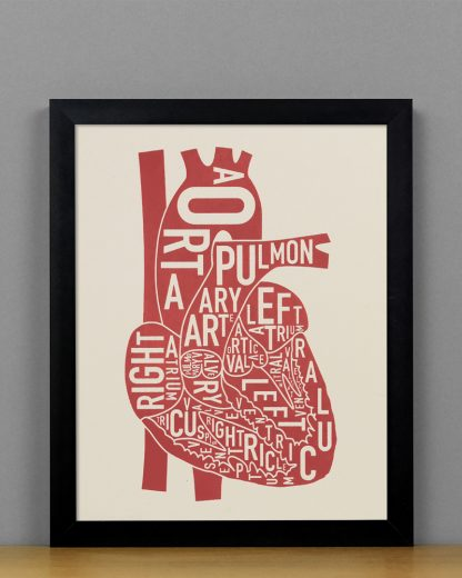 "Framed Heart Anatomy Diagram, Ivory & Red Screenprint, 8"" x 10"" in Black Frame"