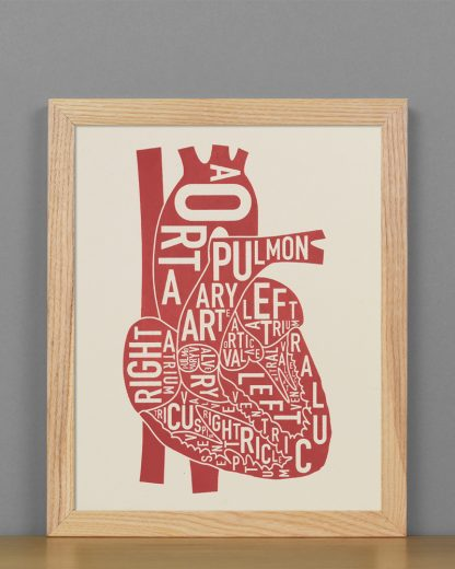 "Framed Heart Anatomy Diagram, Ivory & Red Screenprint, 8"" x 10"" in Light Wood Frame"
