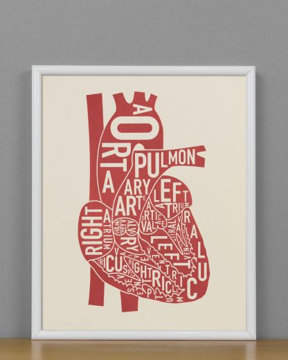 "Framed Heart Anatomy Diagram, Ivory & Red Screenprint, 8"" x 10"" in White Metal Frame"