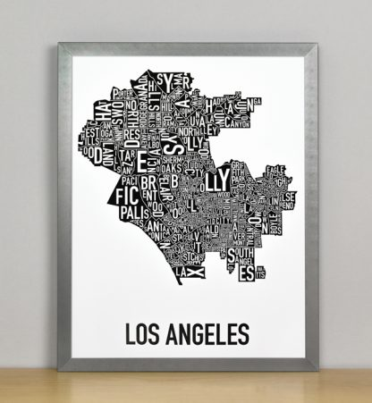 "Framed Los Angeles Typographic Neighborhood Map Poster, B&W, 11"" x 14"" in Steel Grey Frame"
