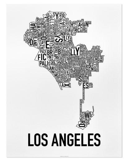 "Los Angeles Neighborhood Map Poster, Classic B&W, 18"" x 24"""