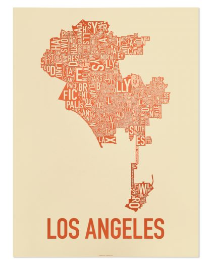 "Los Angeles Neighborhoods Map Poster, Tan & Orange, 18"" x 24"""
