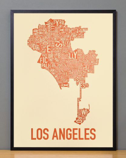 "Framed Los Angeles Neighborhoods Map Poster, Tan & Orange, 18"" x 24"" in Black Frame"