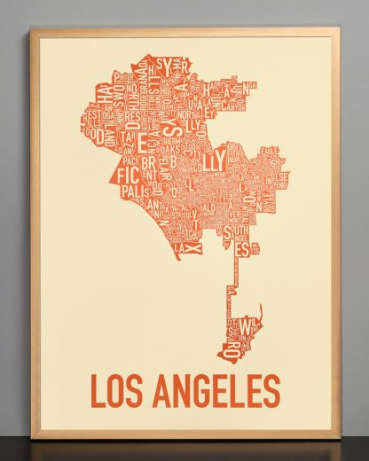 "Framed Los Angeles Neighborhoods Map Poster, Tan & Orange, 18"" x 24"" in Bronze Frame"