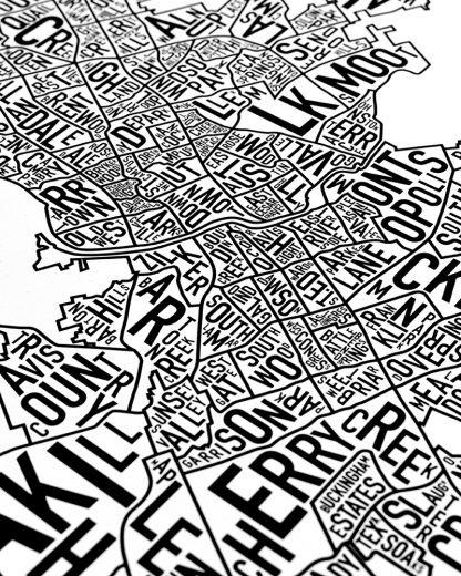 "Austin Neighborhood Map Poster, 18"" x 24"", Classic B&W"