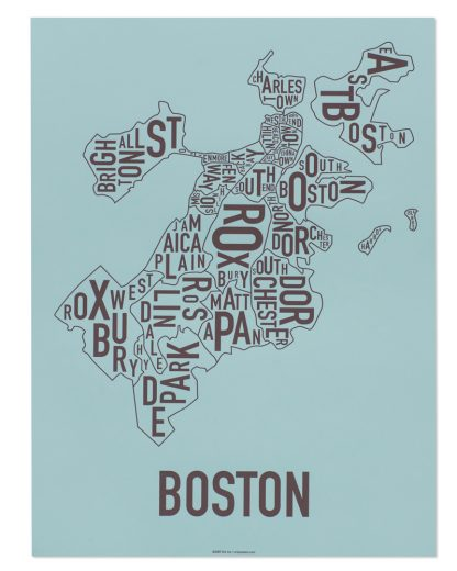 "Boston Neighborhood Map, Blue & Brown, 18"" x 24"""