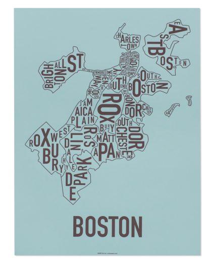 "Boston Neighborhood Map, Blue & Brown, 18"" x 24"""