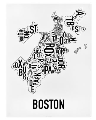 "Boston Neighborhoods Map, Classic B&W, 18"" x 24"""