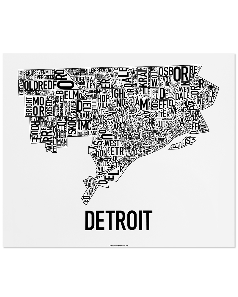 Detroit neighborhood map 24″ x 20″ classic black white poster