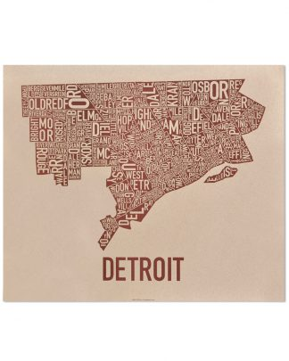 "Detroit Neighborhood Map Poster, Tan & Brown, 24"" x 20"""