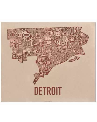 "Detroit Neighborhood Map Poster, Tan & Brown, 24"" x 20"""