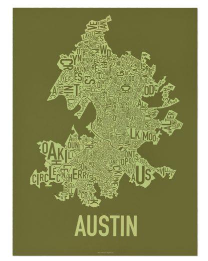 """Austin Neighborhood Map Screenprint, 18"""" x 24"""", Green & Light Green"""