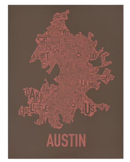 "Austin Neighborhood Map Screenprint, 18"" x 24"", Brown & Peach"