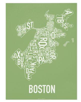 "Boston Neighborhood Map, Green & White, 18"" x 24"""