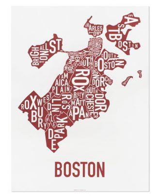 """Boston Neighborhoods Map, White & Red, 18"""" x 24"""""""