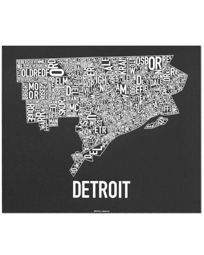 "Detroit Neighborhood Map Screenprint, Black & White, 24"" x 20"""