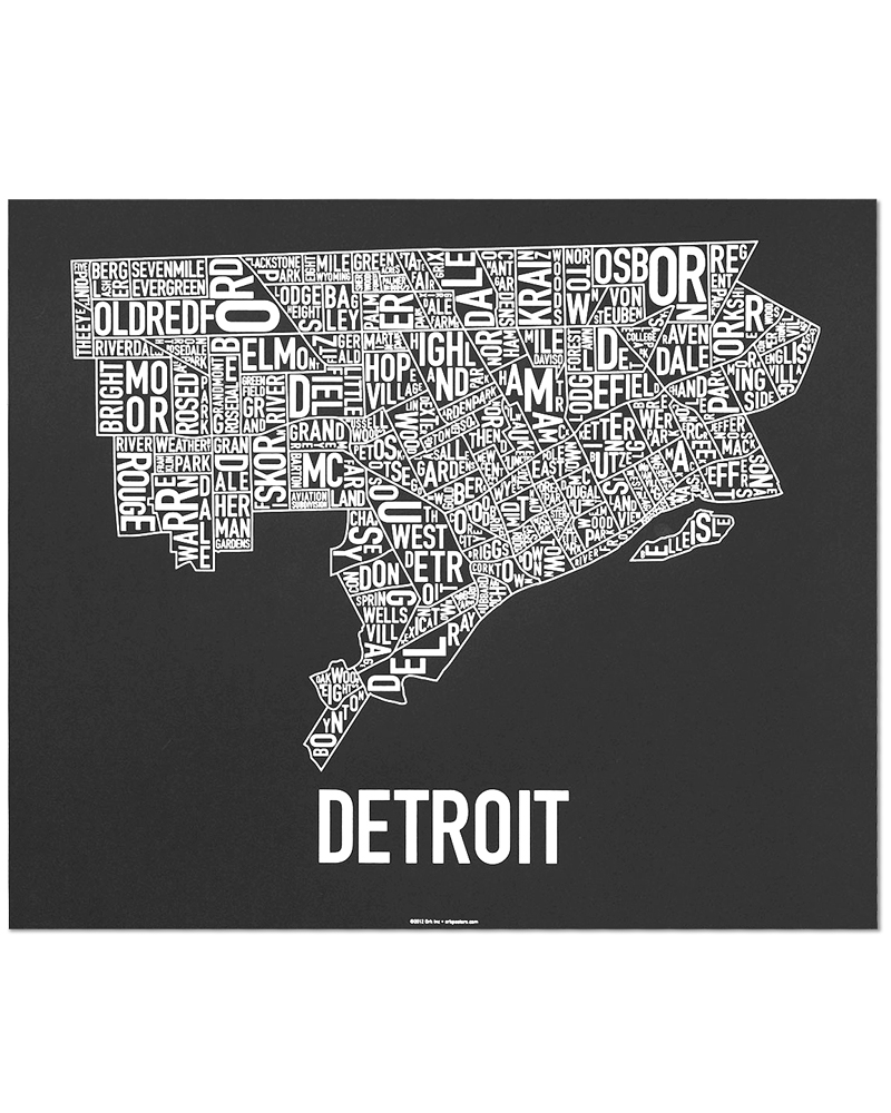 Detroit neighborhood map 24″ x 20″ motor city black screenprint
