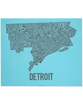 "Detroit Neighborhood Map Screenprint, Blue & Grey, 24"" x 20"""