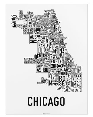 "Chicago Neighborhood Map Poster, Classic B&W, 18"" x 24"""