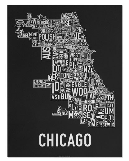"Chicago Neighborhood Map Screenprint, Black & White, 18"" x 24"""