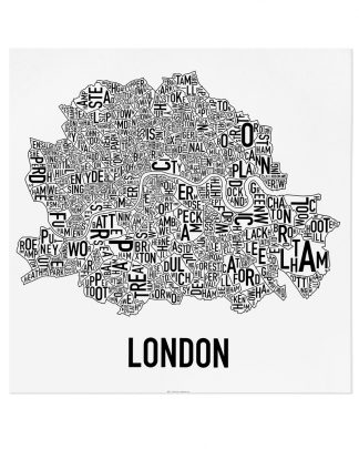 "Central London Neighbourhood Poster, Classic B&W, 24"" x 24"""