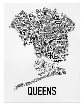 "Queens Neighborhood Map, Classic B&W Poster, 18"" x 24"""