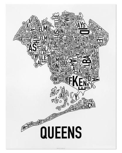 "Queens Neighborhood Map, Classic B&W Poster, 18"" x 24"""