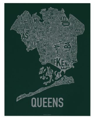 "Queens Neighborhood Map, Green & Grey Screenprint, 18"" x 24"""