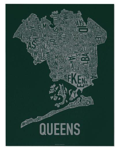 """Queens Neighborhood Map, Green & Grey Screenprint, 18"""" x 24"""""""