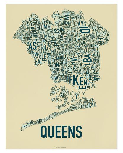 """Queens Neighborhood Map, Tan & Navy Screenprint, 18"""" x 24"""""""