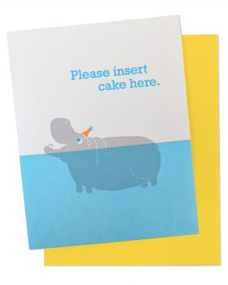 McBitterson's Birthday Hippo Insert Cake Here Letterpress Greeting Card