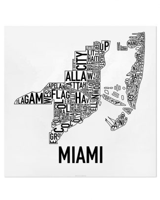 "Miami Neighborhood Map Poster, Classic B&W, 18"" x 18"""
