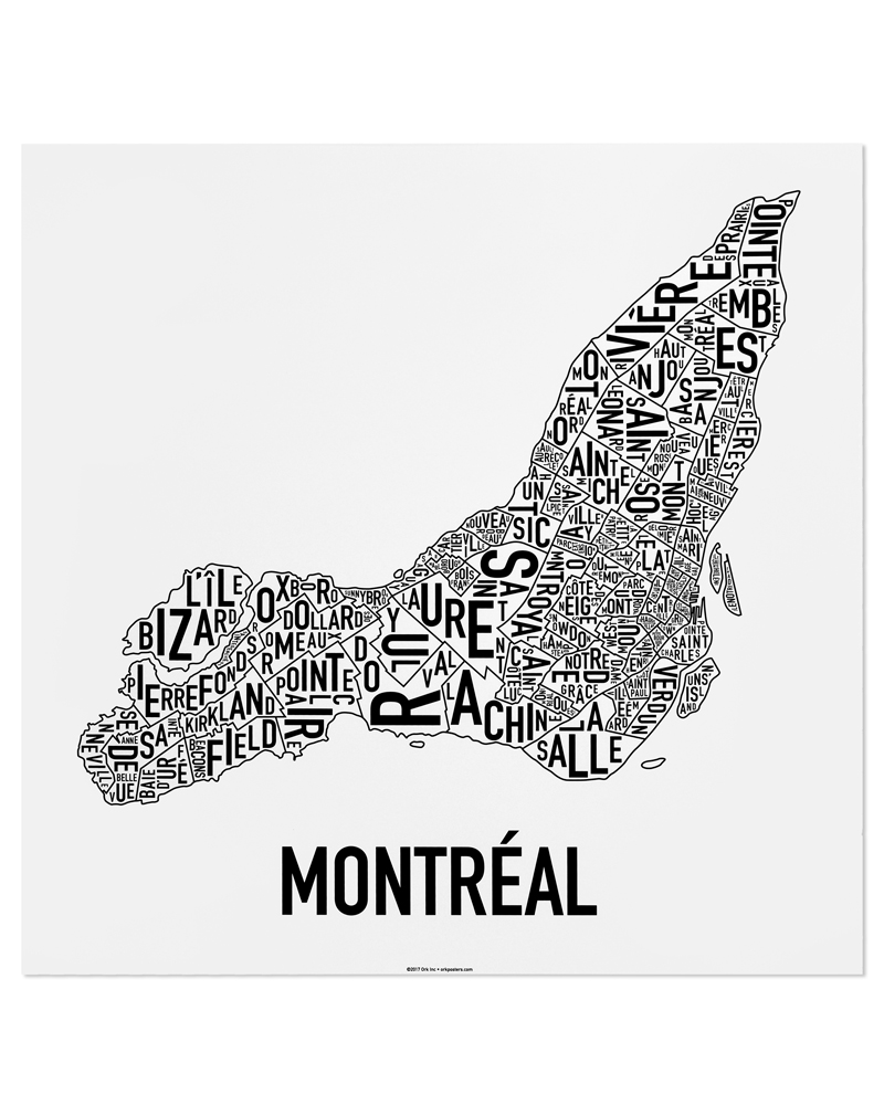 "Montreal Neighbourhoods Map Poster, White & Black, 24"" x 24"""
