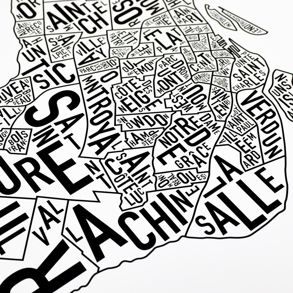 "Montreal Neighbourhoods Map Poster, White & Black, 24"" x 24"""