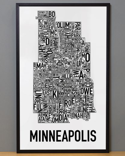 "Framed Minneapolis Neighborhood Map Poster, Classic B&W, 16"" x 26"" in Black Frame"