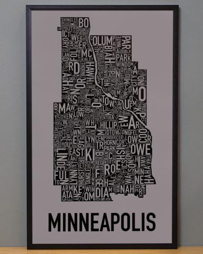 "Framed Minneapolis Neighborhood Map Poster, Grey & Black, 16"" x 26"" in Black Frame"