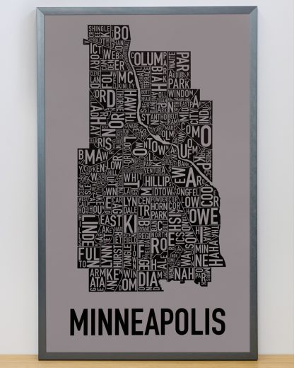 "Framed Minneapolis Neighborhood Map Screenprint, Grey & Black, 16"" x 26"" in Steel Grey Frame"