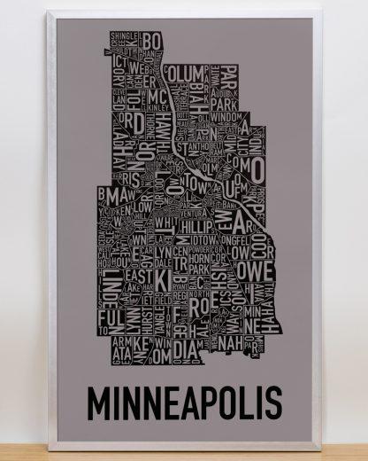 "Framed Minneapolis Neighborhood Map Screenprint, Grey & Black, 16"" x 26"" in Silver Frame"