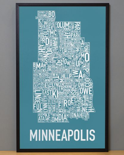 "Framed Minneapolis Neighborhood Map Poster, Teal & White, 16"" x 26"" in Black Frame"