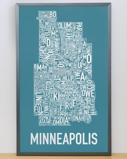 "Framed Minneapolis Neighborhood Map Poster, Teal & White, 16"" x 26"" in Steel Grey Frame"