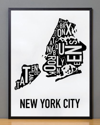 "Framed New York City Boroughs Map, Classic B&W, 18"" x 24"" in Black Frame"