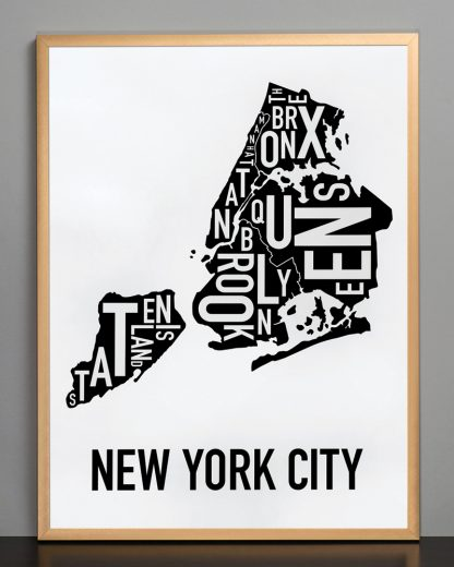 "Framed New York City Boroughs Map, Classic B&W, 18"" x 24"" in Bronze Frame"