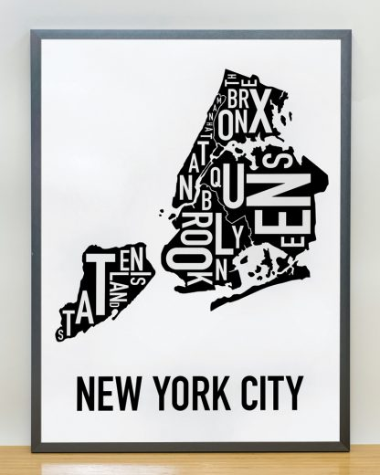 "Framed New York City Boroughs Map, Classic B&W, 18"" x 24"" in Steel Grey Frame"