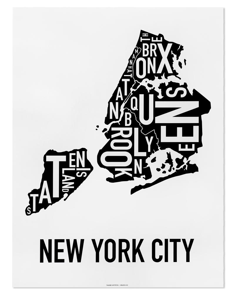 New York City Boroughs Map 18 X 24 Classic Black White Poster