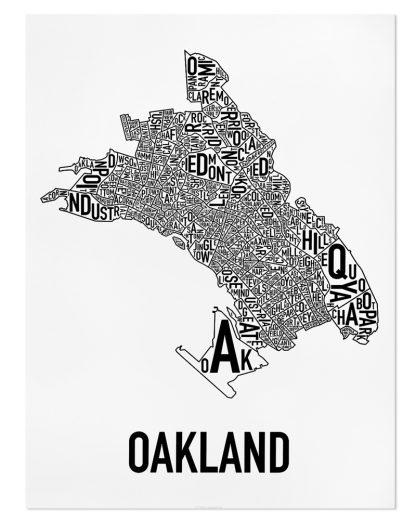 "Oakland Neighborhood Map Poster, Classic B&W, 18"" x 24"""