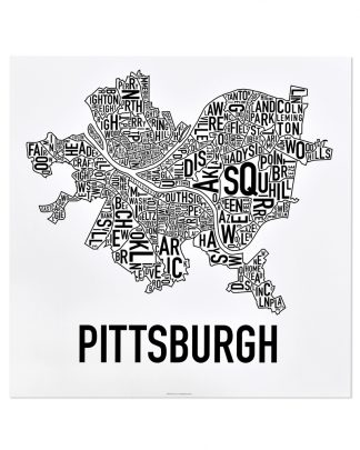 "Pittsburgh Neighborhood Map Poster, Classic B&W, 18"" x 18"""