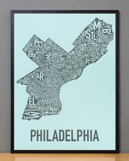"Framed Philadelphia Neighborhood Map Poster, Light Blue & Grey, 18"" x 24"" in Black Frame"
